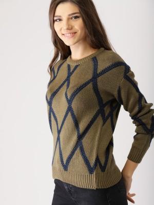 Provogue Self Design Round Neck Casual Women Green Sweater