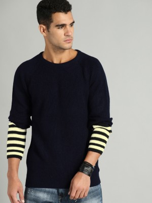 Roadster Solid Round Neck Casual Men Dark Blue Sweater at flipkart