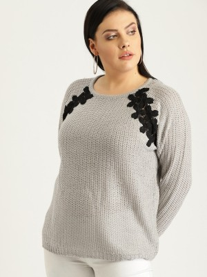 Sztori Self Design Round Neck Casual Women Grey Sweater