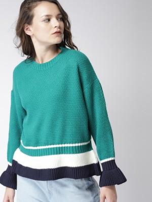 Harvard Self Design Round Neck Casual Women Green Sweater