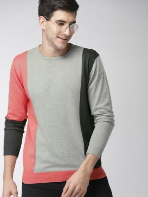 Mast   Harbour Solid Round Neck Casual Men Grey Sweater