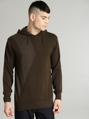 Roadster Solid Casual Men Brown Sweater at flipkart