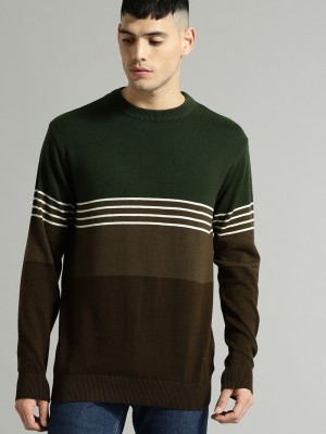 Roadster Solid Round Neck Casual Men Green Sweater at flipkart