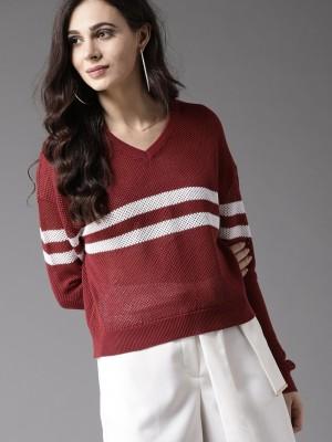 TAB91 Self Design Round Neck Casual Women Grey Sweater