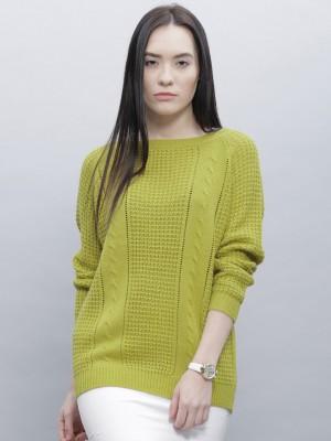 Dressberry Self Design Round Neck Casual Women Green Sweater