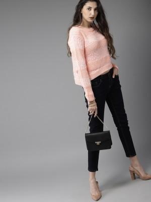 HERE&NOW Self Design Round Neck Casual Women Pink Sweater at flipkart