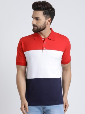 The Dry State Striped Men Polo Neck Red, White, Dark Blue T-Shirt