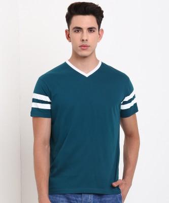 Metronaut Solid Men V Neck Green T-Shirt