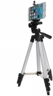Zeom ™ Adjustable Aluminium Lightweight Camera Stand Tripod-3110 With Three-Dimensional Head & Quick Release Plate For Video Cameras and mobile clip holder for Mobiles & Smartphones Tripod(Silver, Black, Supports Up to 1500 g) Tripod(Black, Silver, Supports Up to 1500 g) 1