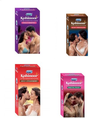 Durex Kohinoor MULTI FLAVOUR pack Condom (Set of 4, 40S) buddhtrader Condom(Set of 4, 40S)