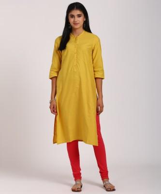 Aurelia Women Solid Straight Kurta(Yellow)