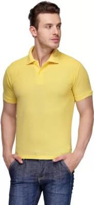 Keoti Solid Women Polo Neck Yellow T Shirt