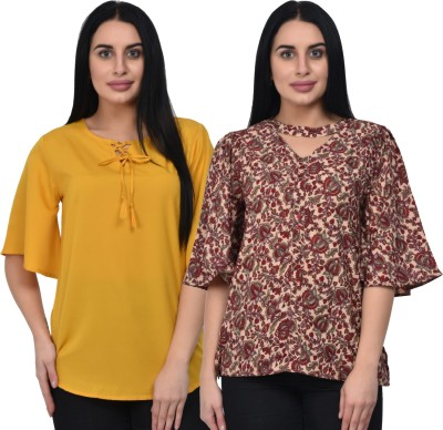 People Casual Regular Sleeve Embroidered Women Yellow Top
