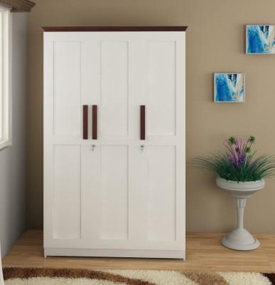 Flipkart Perfect Homes Engineered Wood 3 Door Wardrobe(Finish Color - Frosty White + Burma Teak)