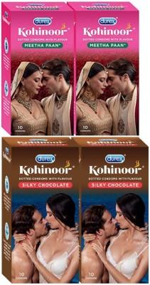 Durex CHOCOLATE & MEETHA PAAN FLAVOUR 2X2 pack Condom Condom(Set of 4, 40S)