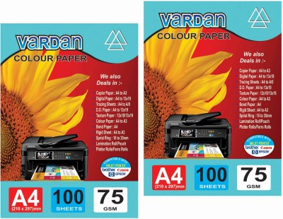 Vardan pack of 2pkt unruled A4 Printer Paper   Set of 2, Mixed Colour  Vardan Drawing Papers