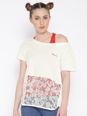 ADIDAS NEO Casual Regular Sleeve Self Design Women White Top