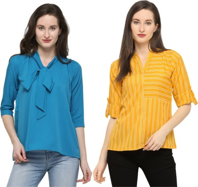 Swaron Casual Half Sleeve Solid, Dyed, Striped, Printed Women Blue, Yellow Top