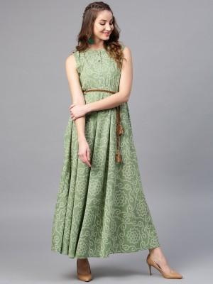 Aks Women Maxi Green Dress