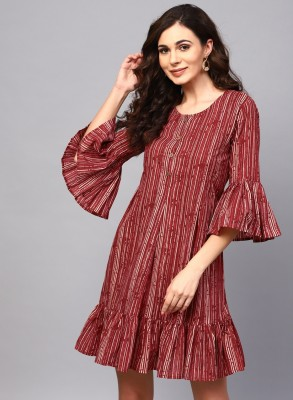 Aks Women Fit and Flare Maroon Dress