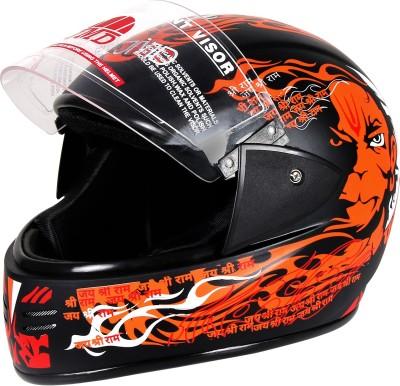 JMD ELEGANT Premium Decor PAWAN Full Face (Black-Orange, Matt_L) Motorbike Helmet(Black, Orange)