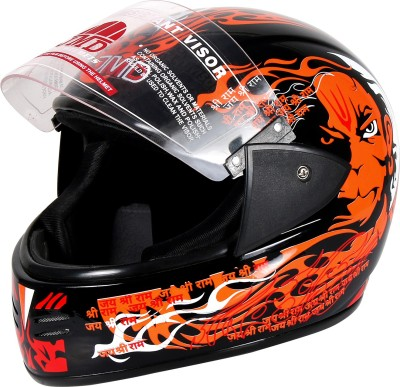 JMD ELEGANT Premium Decor PAWAN Full Face (Black-Orange, Glossy_M) Motorbike Helmet(Black, Orange)