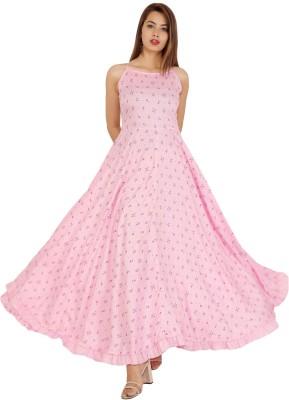 OMASK Women Printed Gown Kurta(Pink)