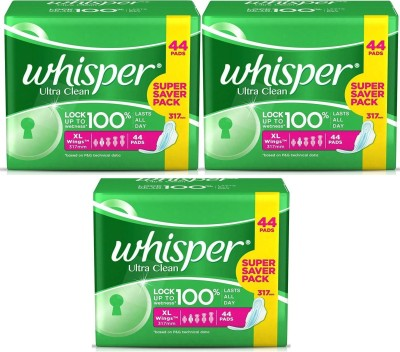 Whisper Clean Count Sanitary Pad(Pack of 3)