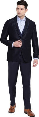 Suitsmith 3-Piece Suit, Premium Designer Italian Fit Slim Fit Casual/Formal/Partywear/Festival wear 3-piece Suit for Men, Blue 3-Piece Suit Textured Men Suit at flipkart