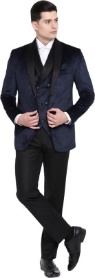 Suitsmith 3-Piece Velvet Tuxedo Suit, Premium Designer Italian Fit Slim Fit Casual/Formal/Partywear/Festival wear 3-piece Tuxedo Suit for Men, Blue & Black 3-Piece Velvet Tuxedo Checkered Men Suit at flipkart