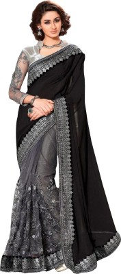 B BELLA CREATION Embroidered, Embellished, Solid Bollywood Poly Georgette Saree(Multicolor)