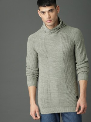 Roadster Solid Cowl Neck Casual Men Grey Sweater at flipkart