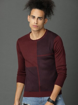 Roadster Solid Round Neck Casual Men Maroon Sweater at flipkart