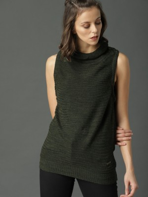 Roadster Solid Casual Women Green Sweater Roadster Women's Sweaters