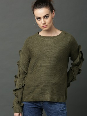 Roadster Self Design Round Neck Casual Women Green Sweater