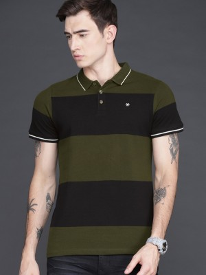 WROGN Striped Men Polo Neck Green T-Shirt at flipkart