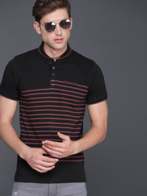 WROGN Striped Men Polo Neck Black T-Shirt at flipkart