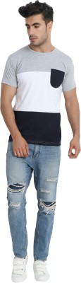 DEW DROPS Striped Men Round Neck Grey, Dark Blue, White T-Shirt