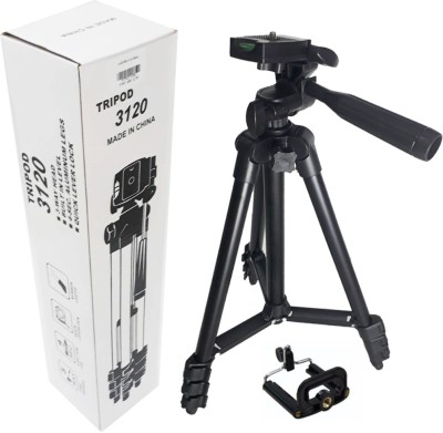 Padraig DSLR Camera Tripod – 3120 Compatible with most video cameras, digital cameras, still cameras, GoPro devices, smartphone adapters and scopes , Latest Tripod – Tripod(Black, Supports Up to 500 g)