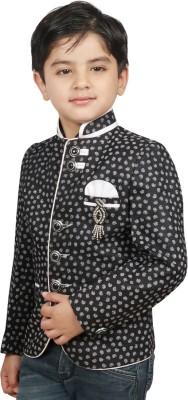 SG YUVRAJ Printed Mandarin Party Baby Boy's Blazer(White)