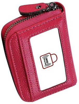 Flipkart SmartBuy New RFID Business/Credit/Visiting/Debit Card Holder Case Wallet for Gift Pink Card Holder 15 Card Holder(Set of 1, Pink)