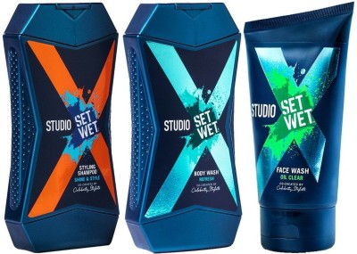 Set Wet Studio X Brightening Face Wash 100 ml, Cooling & Style Shampoo and Refresh Body Wash for Men 180 ml(3 Items in the set)