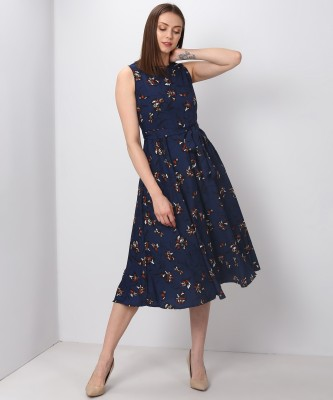 Tokyo Talkies Women Fit and Flare Blue Dress at flipkart