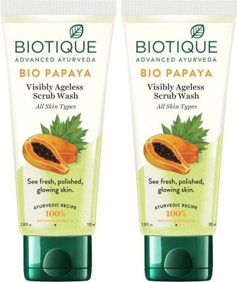 BIOTIQUE BIO Papaya Exfoliating  100 ml X2 Face Wash (200 ml)