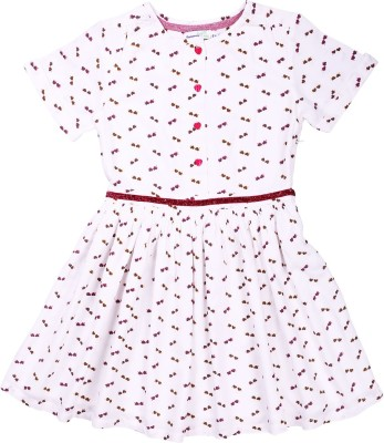 ShopperTree Girls Midi/Knee Length Casual Dress(Multicolor, Half Sleeve) at flipkart