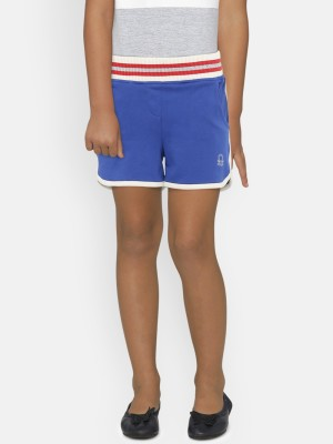United Colors of Benetton Short For Girls Casual Solid Pure Cotton(Blue, Pack of 1)