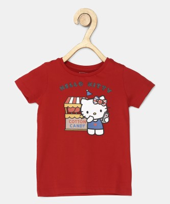 Miss & Chief Girls Printed Cotton Blend T Shirt(Red, Pack of 1) at flipkart
