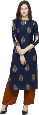 Swaron Women Printed, Block Print, Floral Print Straight Kurta(Dark Blue)