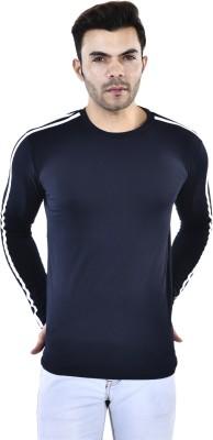 FIVE STONES Striped Men Round Neck Blue, White T-Shirt