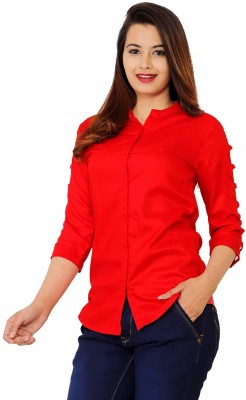 silkova Casual 3/4 Sleeve Solid Women Red Top